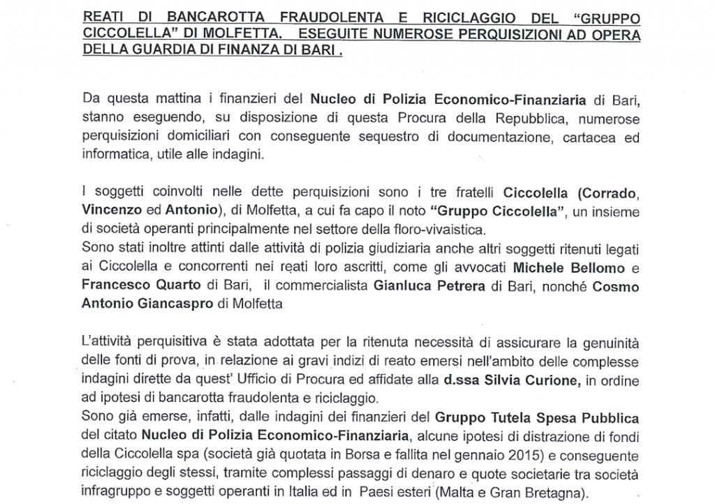Reati di riciclaggio e bancarotta fraudolenta del gruppo Ciccolella: perquisizioni in corso