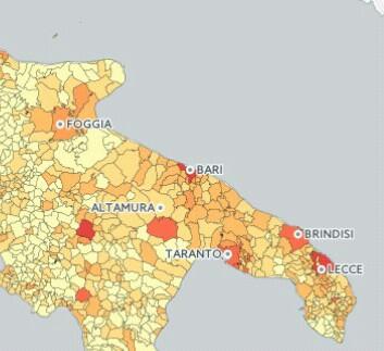 Cartina Puglia Con Tutti I Paesi.Redditi Lecce La Piu Ricca Di Puglia Andria La Piu Povera Classifica Citta Noi Notizie