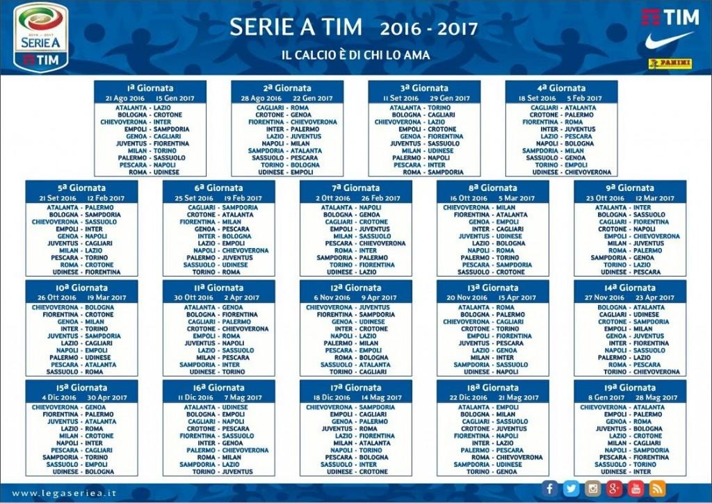 Calendario Campionato Calcio.Calcio Serie A Il Calendario Del Campionato 2016 2017