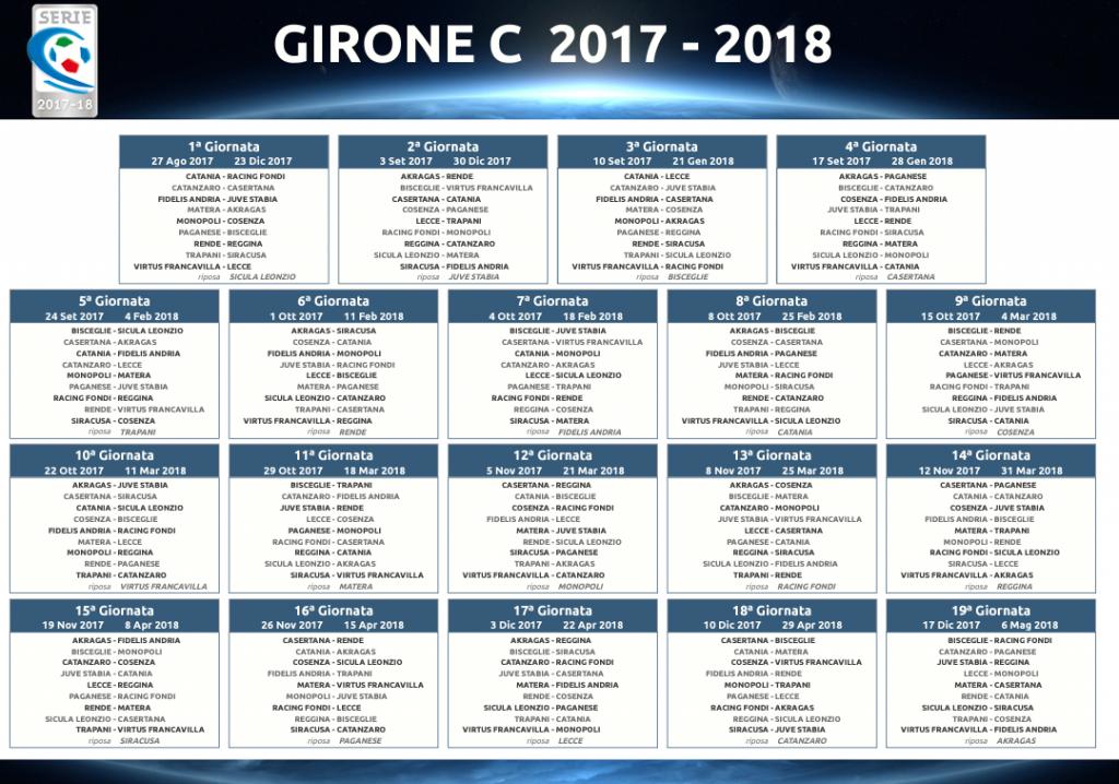 Calendario Campionato Calcio.Calcio Serie C Il Calendario Del Campionato 2017 2018