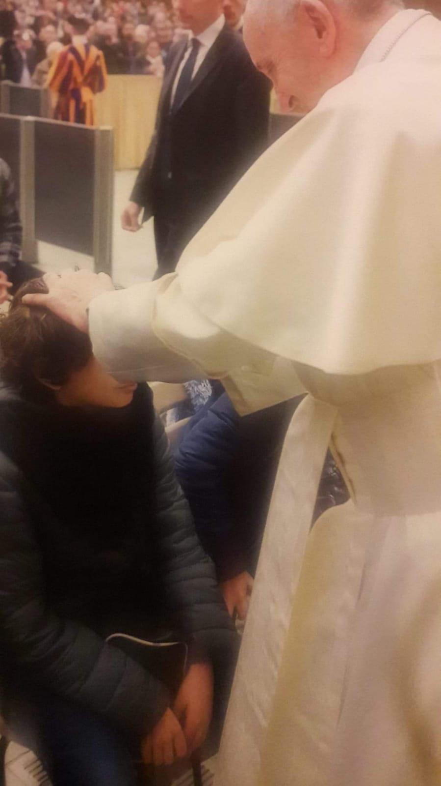 Griogio Di Ponzio accolto da Papa Francesco