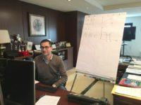 il rettore Cupertino nel suo ufficioper una lezione in teledidattica