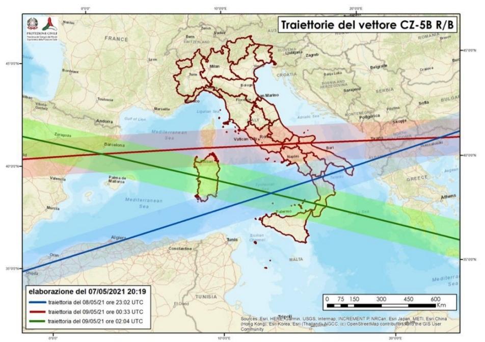 Razzo cinese: allerta da stasera per nove regioni fra cui la Puglia, restare in casa lontano dalle finestre Momento previsto di impatto con l