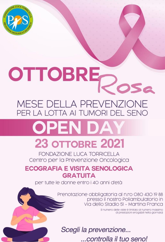 Martina Franca: prevenzione del tumore al seno, open day alla fondazione Luca Torricella Oggi per il mese della prevenzione