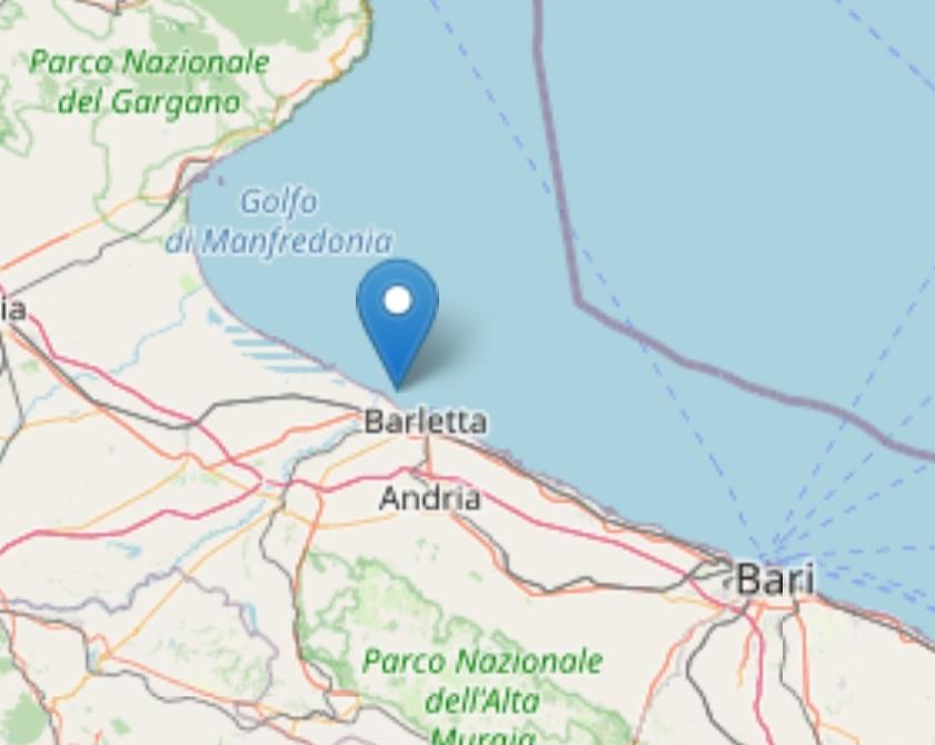Terremoto: lieve scossa al largo di Barletta Magnitudo 2,5 registrata alle 12,31 con epicentro in mare Adriatico